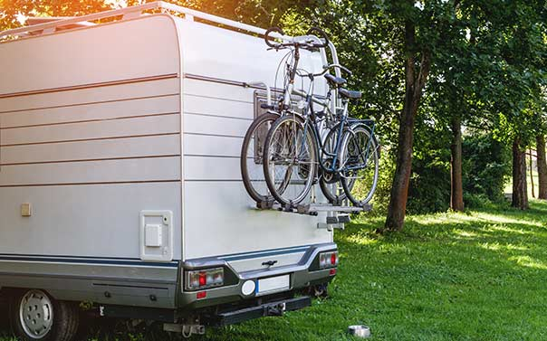 toy hauler rv camping with bikes